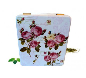 """Boîte compartiment carré décor """"roses"""""""