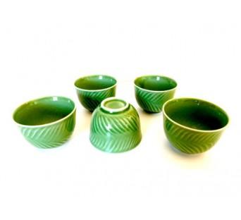 Ensemble 5 tasses vertes du Japon