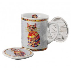 """Tisanière porcelaine décor """"chat"""" 0,25l"""